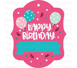 Happy Birthday With Balloons Gift Tag SVG