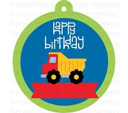 Happy Birthday with Dump Truck Gift Tag SVG