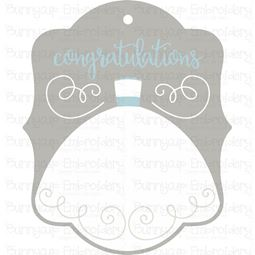 Wedding Dress Congratulations Gift Tag SVG