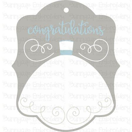 Wedding Dress Congratulations Gift Tag SVG