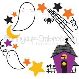 Haunted House Monogram Frame SVG