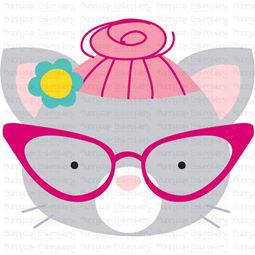 Hipster Cat Face SVG