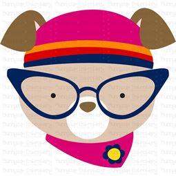 Hipster Dog Face SVG