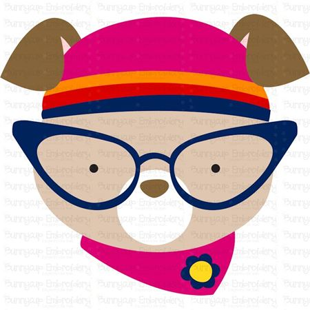 Hipster Dog Face SVG