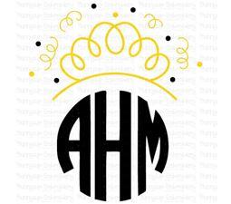 New Years Princess Crown Monogram Topper SVG