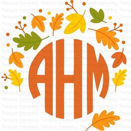 Autumn Fall Leaves  Monogram Topper SVG