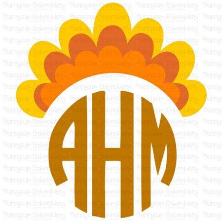 Thanksgiving Turkey Tail Monogram Topper Svg Bunnycup Svg