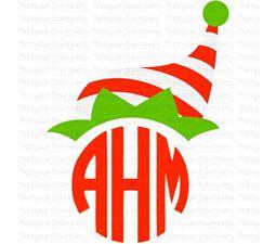 Christmas Elf Hat  Monogram Topper SVG