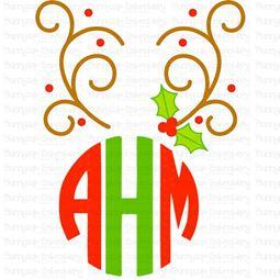 Reindeer Antlers Monogram Topper SVG