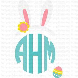 Easter Bunny Ears Girl Monogram Topper SVG