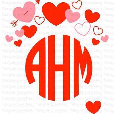 Valentine's Day Hearts Monogram Topper SVG