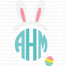 Easter Bunny Ears Boy Monogram Topper SVG