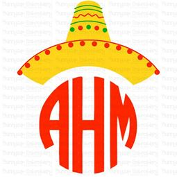 Cinco De Mayo Sombrero Monogram Topper SVG