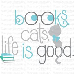 Books Cats Life Is Good SVG