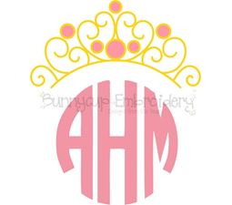 Princess Crown Monogram Topper SVG