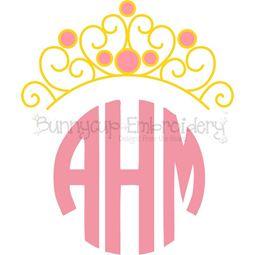 Princess Crown Monogram Topper SVG