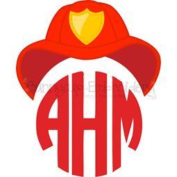 Fireman Hat Monogram Topper SVG