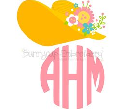 Southern Belle Hat Monogram Topper SVG
