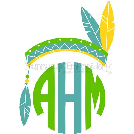 Feathered Indian Headdress Monogtam Topper SVG