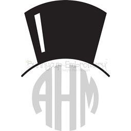 Top Hat Monogtam Topper SVG