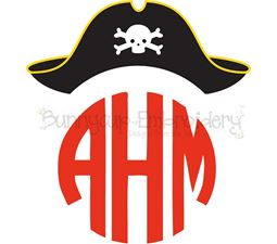 Pirate Hat Monogram Topper SVG