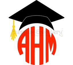 Graduation Cap Monogram Topper SVG