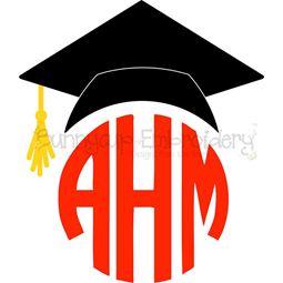 Graduation Cap Monogram Topper SVG