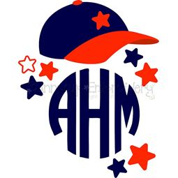 Baseball Cap Monogram Topper SVG