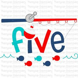 Five Fishing Rod  SVG
