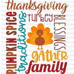 Thanksgiving Subway Art SVG