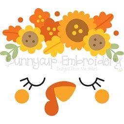 Floral Turkey Face SVG