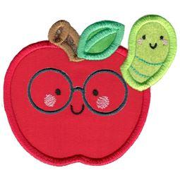 Applique Glasses Apple and Caterpillar