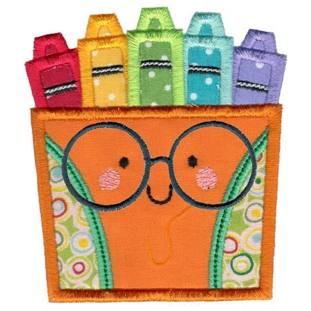 Applique Glasses Box Of Crayons