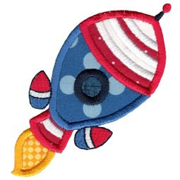 Cute Applique Rocket