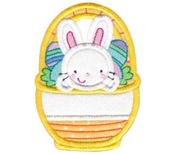 Split Bunny in Basket Applique