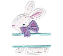 Split Bunny With Bow Applique