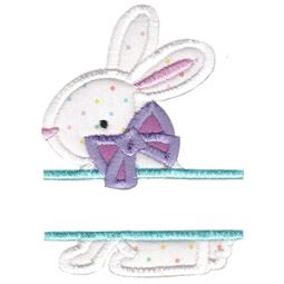 Split Bunny With Bow Applique