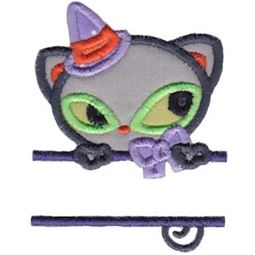 Split Black Cat Applique