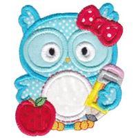 Girl Owl Monogram Applique