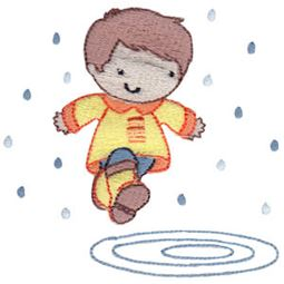 Boy Puddle Jumping