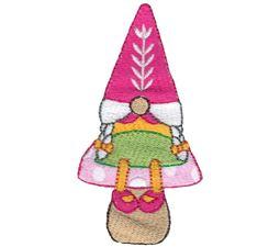 Girl Gnome Sitting On A Mushroom