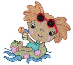Girl Floating In Tube