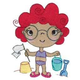 Girl In Glasses With Bucket And Spade