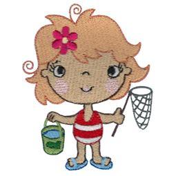 Girl With Fishing Net and Bucket