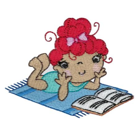 Girl Reading On Towel