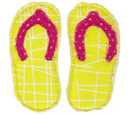 Pair of Flip Flops Raw Edge Applique