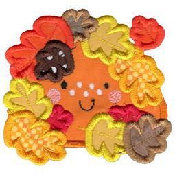 Applique Fall Leaves Pumpkin