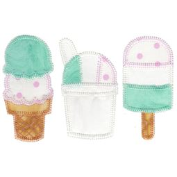 Summer Ice Cream Trio Applique