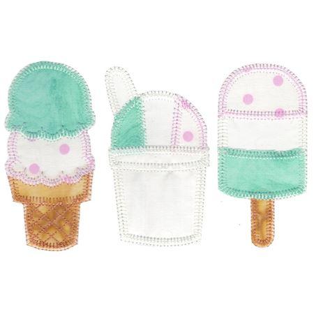 Summer Ice Cream Trio Applique