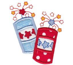 Pair of Patriotic Firecrackers Applique